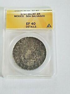 1737 Mexico 8 Reales Pillar Dollar ANACS Shipwreck Silver Colonial Dollar Coin