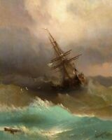 Ivan Aivazovsky Ship in the Stormy Sea Poster Print on Canvas Wall Art Small