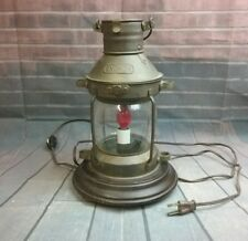Handcrafted Nautical Decor Anchor Electric Lantern on wood 3-footed base