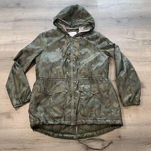 BCBGeneration Camo Rain Jacket Womens Large Zipper Rain Coat Hood
