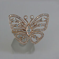 18k Rose Gold Butterfly Engagement Ring VS1 Clarity H Color Diamond Fine Jewelry