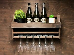 Rustic Wooden Wine Shelf Rack Bottle 6 Glass Holder Wall Mounted Home Bar (6DO)