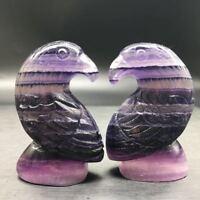 Natural Rainbow Fluorite Quartz Manual Carving Bird Specimen Polished  Healing