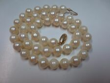 "Vtg 16"" Cultured Pearl Necklace w/14K Y. Gold Clasp Hand Knotted 7.5-7.8 mm"