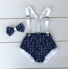 Nautical Anchor Print Cake Smash Outfit -1st Birthday Outfit - Photo Prop