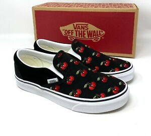 Vans Classic Slip On Shoes Cherries Canvas Black Low Sneakers Men's VN0A4U38L6M