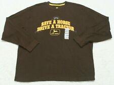 New John Deere Thermal Crewneck Tee T-Shirt Top XL Long Sleeve Mans Brown Yellow