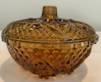 VTG~ AMBER PRESSED GLASS WITH ROSES, HEARTS & FLEUR DI LIS DESIGN DISH W/LID