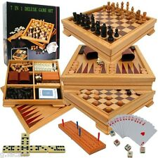 7 1 Game Set Wood Board Deluxe Games Glass Card New Nib Cardinal Checkers Chess