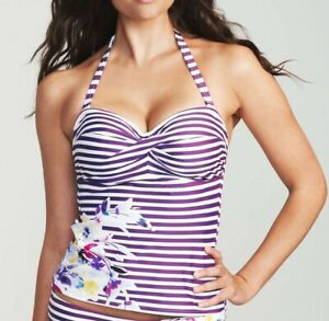 LADIES PURPLE TANKINI TOP Figleaves Dolly Stripe Floral NEW
