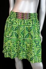 Vanessa Virginia Anthropologie Fresh Cut Skirt Green Cotton Smocked Womens Sz 4