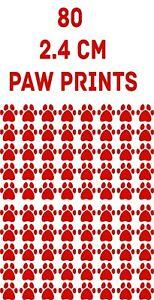 80 x  RED Paw Print Dog Cat Decal Vinyl Stickers Car Glass Craft Art