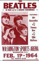 Music Poster Reprint The Beatles at Washington 1964 1st U.S. Concert