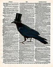 Victorian Crow Art Print 8 x 10 - Dictionary Page - Raven - Bird - Steampunk