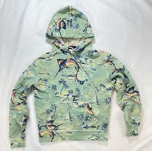 Ralph Lauren Polo RRL Swordfish Nautical Hoodie Shirt Small Men Preppy Yes Green