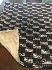 NFL New England patriots Flannel/gray Minky 37x39  Baby/toddler Blanket, New
