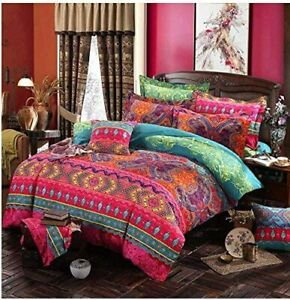 Queen Size Duvet Cover Sets Indian Boho Bedding Cover Sets Soft Polyester Set