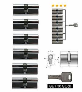 Schließzylinder Türzylinder 80mm 6-er Set Gleichschließend Schließanlage S30