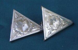 STERLING Hand Engraved Shirt Collar Tips..Flower Design