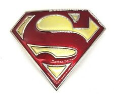 SUPER HERO S SUPER MAN METALLIC RED GOLD LOGO BELT BUCKLE DC SUPERMAN SNAP BELT