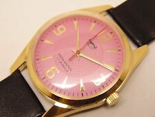 VINTAGE HMT PILOT GOLD PLATED HAND WINDING MENS PINK DIAL WRIST WATCH RUN ORDER.