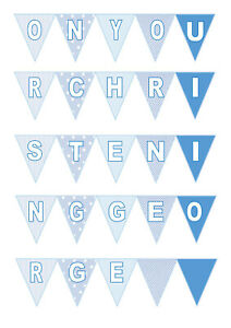 Personalised Edible Blue Bunting Iced Icing Cake Topper
