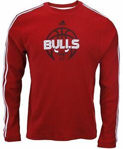 Adidas NBA Basketball Men's Chicago Bulls 3-Stripe Long Sleeve Thermal Shirt,Red