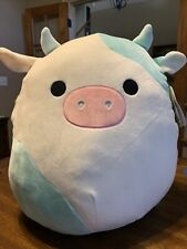 """New Squishmallow 16"""" Belana the cow Kellytoy Rare ivory and blue"""