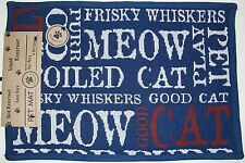 """P.B. PAWS 13""""x19"""" SKID LIQUID RESISTANT EASY CARE NAVY BLUE PLACEMAT FOR CAT NEW"""