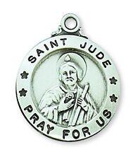 Medal St Jude Thaddeus Sterling Silver Medallion Pendant 20 inch Chain Catholic