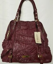 Burberry Haywood Red Oxblood Over Sized Leather Gold Tone Weekend Bag