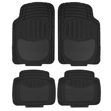 4PC. MD. Car Semi-Carpet & Rubber Front Mats & Black Rear Floor Mats Set