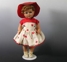 Vintage Hard Plastic Doll, Italy Ratti, Red Riding Hood, Googly Eyes