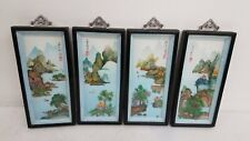 Vintage Asian Swatow Shell Cutting Seasons Framed