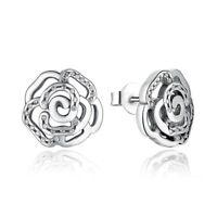 Original 925 Sterling Silver Shimmering Rose Petals Flower Stud Earrings pandora