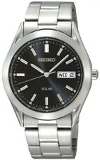 SEIKO SNE039P1 Solar Gents Black Dial Day SS Date WR 30M 2 Year Guar RRP £159.00