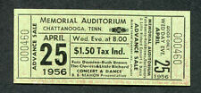 1956 Little Richard Fats Domino Clovers unused concert ticket Chattanooga TN