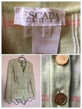 301be29ae6c16 Escada Margaretha Ley Vintage Cardigan Size 14 Gold Logo Buttons Sweater  Green