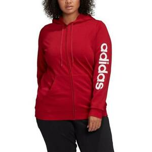 Adidas Women's Essentials Hooded Track Top-Red 3X
