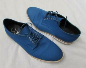 CALVIN KLEIN mens 12 electric blue lace up oxford dress shoes canvas
