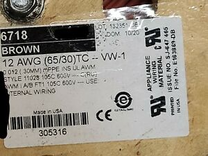 Alpha Wire 6718 #12awg EcoWire mPPE Tinned Copper Hook Up Wire 600V Brown /50ft