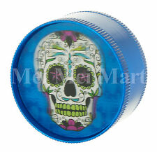 "2"" Candy Skull 3D Holographic Grinder Blue 3 Piece Tobacco Herb Spice GR41CSK3D"