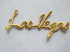 #3473 Golden Word LAS VEGAS Embroidery Iron On Applique Patch