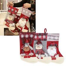 Christmas Stocking Sock Santa Floral Candy Gift Bag Xmas Tree Decor Hanging