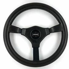 Genuine Momo Cavallino 350mm black leather steering wheel. Classic Retro,  1989