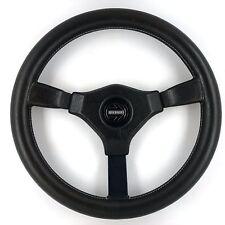 Genuine Momo Cavallino 350mm black leather steering wheel. Classic Retro,  1989