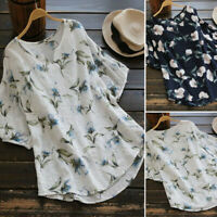 Women Shirt V Neck Half Sleeve Vintage Floral Print Tops Loose Blouse S-5XL New