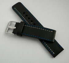 full grain, 2xblue/white stitch Eu made Black leather 22mm watch 4mm thick band,