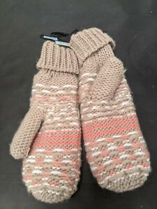 F&F Thinsulate 3M Knitted Mittens Beige/Pink One Size #SH
