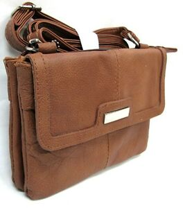 Genuine Leather Small Organizer Purse Cross Body Slim Light 2 Pocket + ID Window